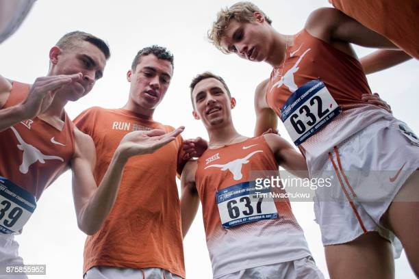 Members of the University of Texas men's team huddle before the Division I Men's Cross Country Championship held at EP Tom Sawyer Park on November 18...