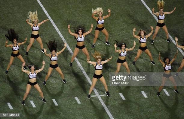 Members of the UNLV Rebels dance team perform during the team's game against the Howard Bison at Sam Boyd Stadium on September 2 2017 in Las Vegas...
