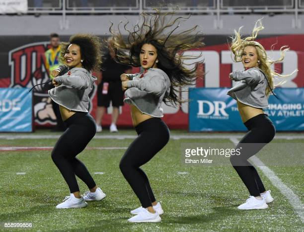 Members of the UNLV Rebels dance team perform during the team's game against the San Diego State Aztecs at Sam Boyd Stadium on October 7 2017 in Las...