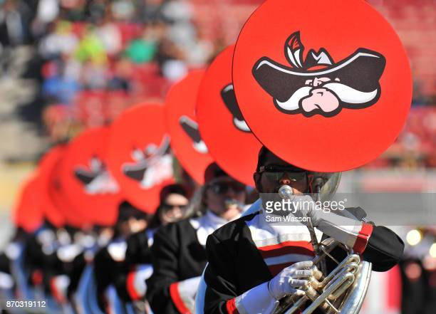 Members of the UNLV Rebels marching band perform before the team's game against the Hawaii Warriors at Sam Boyd Stadium on November 4 2017 in Las...