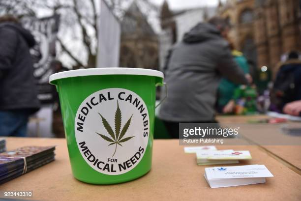 Members of the UPA stand outside Parliament to support MP Paul Flynn's Bill to reschedule Medical Cannabis on February 23 2018 in London England...