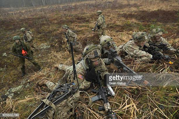 Members of the US 173rd Airborne Brigade and a Lithuanian infantry soldier participate in the Iron Sword multinational military exercises on November...