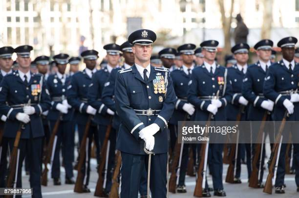 Members of the US Air Force Honor Guard are seen at the 91st Annual Macy's Thanksgiving Day Parade on November 23 2017 in New York City