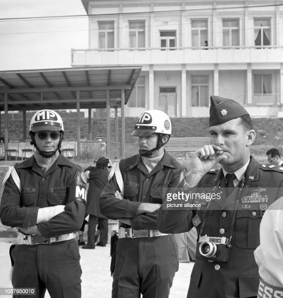 Members of the US army belonging to the Joint Security Area In the background the 'Panmungak' building on North Korean side built in 1969 Picture...