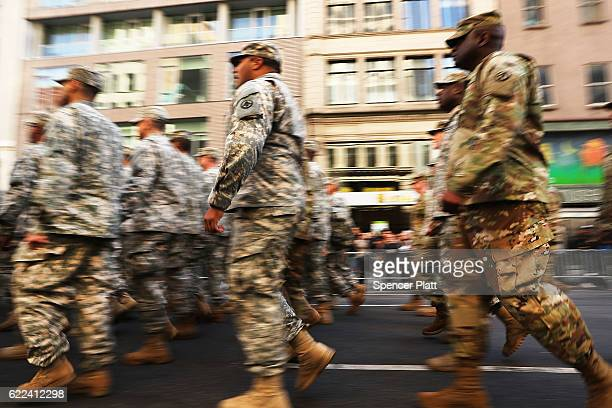 Members of the US Army march in the nation's largest Veterans Day Parade in New York City on November 11 2016 in New York City Known as 'America's...
