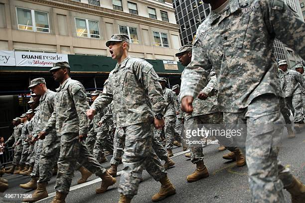 Members of the US Army march in the the nation's largest Veterans Day Parade in New York City on November 11 2015 in New York City Known as...