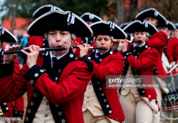 Members of the US Army's Old Guard Fife and Drum Corps take part in Presidents day events at George Washingtons' Mount Vernon estate in Mt Vernon...