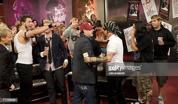 Members of the US boygroup 'The Backstreet Boys' and members of the US band Bloodhound Gang appear at the Television Show MTV TRL at the MTV studios...