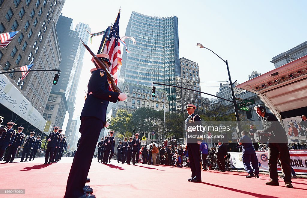 Members of the U.S. Coast Guard take part in the Veteran's Day Parade on November 11, 2012 in New York City. Former Mayor Ed Koch is the grand marshal for the parade, which expects to draw thousands of spectators and is the commemoration of the 50th anniversary of the start of the Vietnam War.