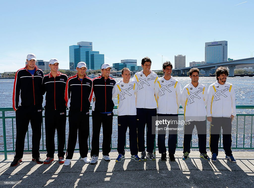 Members of the U.S. Davis Cup Team (L-R) John Isner, Sam Querrey, Bob Bryan, and Mike Bryan pose with members of the Brazil Davis Cup team Bruno Soares, Marcelo Melo, Thomaz Bellucci, Thiago Alves, and captain Joao Zwetsch pose following the Davis Cup Draw ceremony first round between the U.S. and Brazil at the Times-Union Center on January 31, 2013 in Jacksonville, Florida.