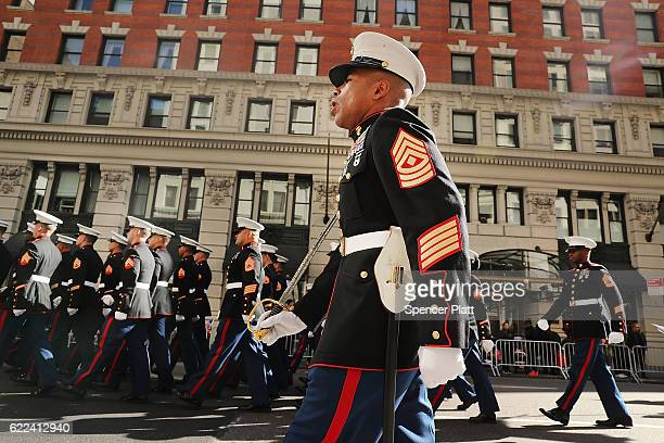 Members of the US Marines march in the nation's largest Veterans Day Parade in New York City on November 11 2016 in New York City Known as 'America's...