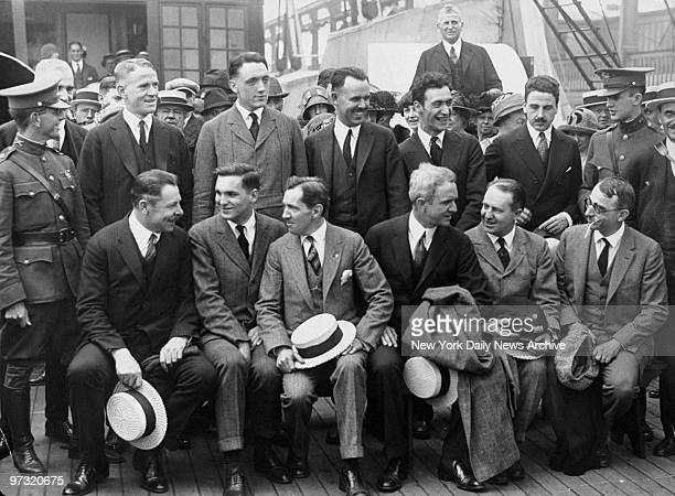 Members of the US Men's Olympic Swimming team aboard the liner America set sail for the games in Paris