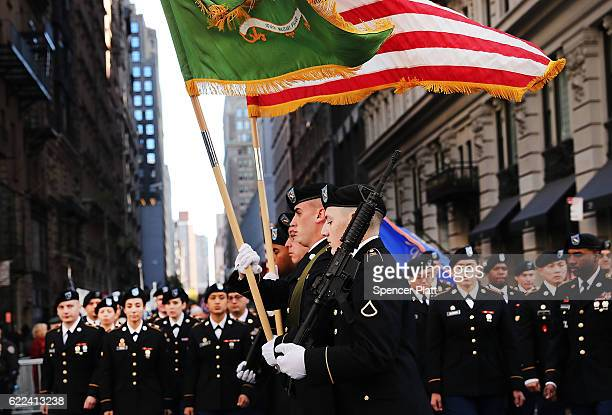 Members of the US military march in the nation's largest Veterans Day Parade in New York City on November 11 2016 in New York City Known as...