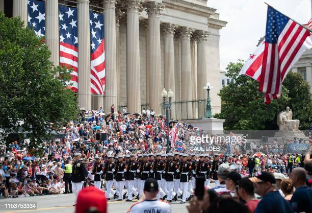 Members of the US military participate in the Fourth of July parade in Washington DC July 4 2019
