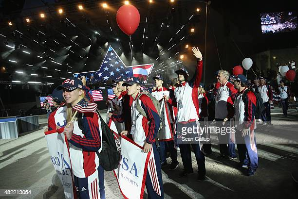 Members of the US national team arrive at the official opening ceremony of the European Maccabi Games at the Waldbuehne on July 28 2015 in Berlin...