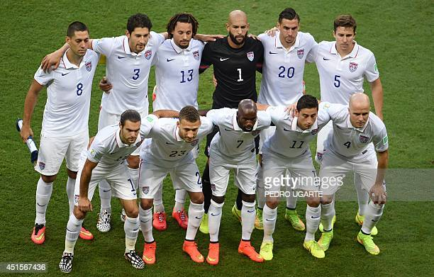 Members of the US national team pose for a picture prior to a Round of 16 football match between Belgium and USA at Fonte Nova Arena in Salvador...