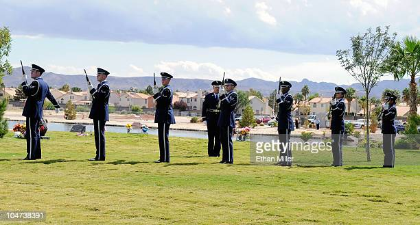 Members of the US Navy honor guard render a 21gun salute during the funeral for actor Tony Curtis at Palm Mortuary Cemetary October 4 2010 in...