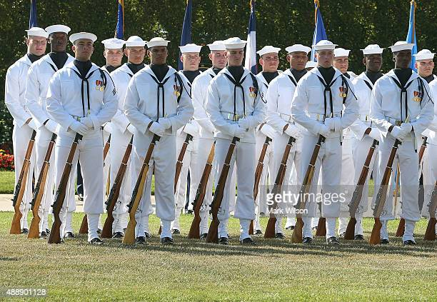 Members of the US Navy participate in the Defense Department's National POW/MIA Recognition Day Ceremony on the Pentagon River Terrace Parade Field...