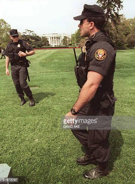 Members of the US Secret Service Emergency Response Team patrol the grounds of the White House in Washiongton DC 20 April Security in and around...