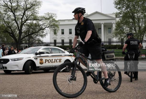 Members of the US Secret Service Uniformed Division patrol on bicycles outside the White House on April 08 2019 in Washington DC Today it was...