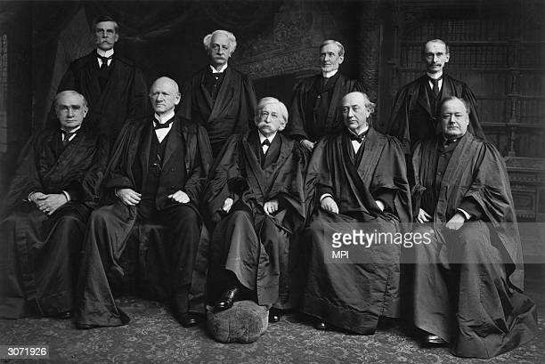 Members of the US Supreme Court Justice Oliver Wendell Holmes , Justice Peckham, Joseph McKenna , William Rufus Day , Henry Billings Brown , John...