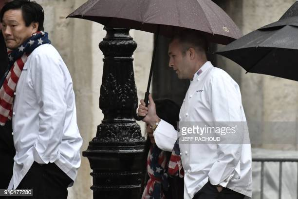Members of the US team for the Bocuse d'Or arrive to attend the funeral ceremony for French chef Paul Bocuse at the SaintJean Cathedral in Lyon on...