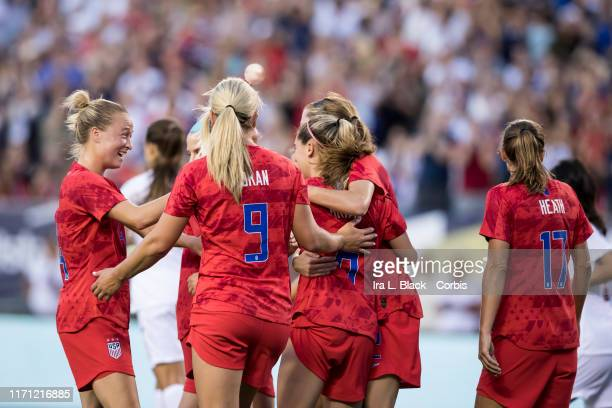 Members of the U.S. Women's 2019 FIFA World Cup Championship team congratulate Morgan Brian of United States after her goal during the 1st half of...