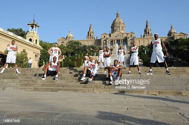 Members of the USA Basketball Men's National Team pose at Montjuic on July 20 2012 in Barcelona Spain NOTE TO USER User expressly acknowledges and...