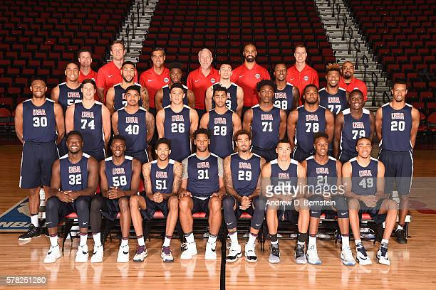 Members of the USA Basketball Men's Select Team pose for a team photo on July 20 2016 at Cox Pavilion on the University of Nevada Las Vegas campus in...