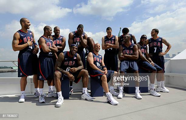 Members of the USA Basketball Senior Men's Team joke around as they pose for a photo during the USA Basketball Senior Men's Team Media Tour on June...