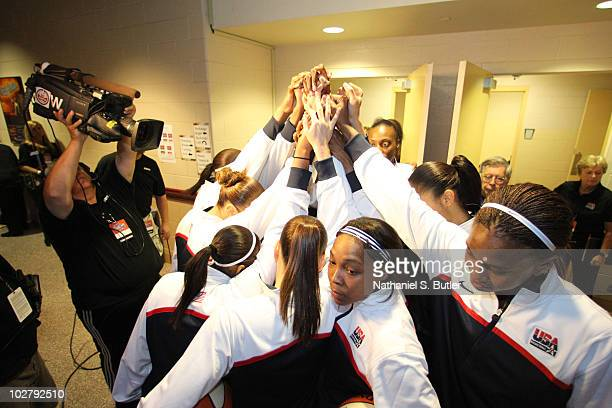 Members of the USA Basketball Team gather together outside the locker room before the game against the WNBA team during the Stars at the Sun...