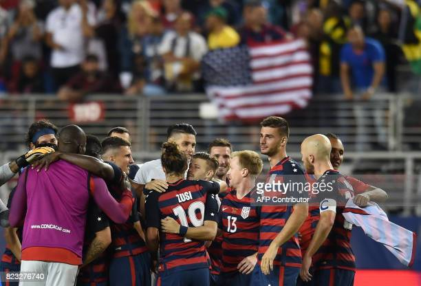 Members of the USA celebrate winning 21 over Jamaica during the final football game of the 2017 CONCACAF Gold Cup at the Levi's Stadium in Santa...