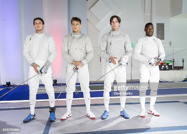 Members of the USA Men's Sabre Team from left to right Eli Dershwitz Andrew Mackiewicz Jeff Spear Daryl Homer are announced as one of the final teams...