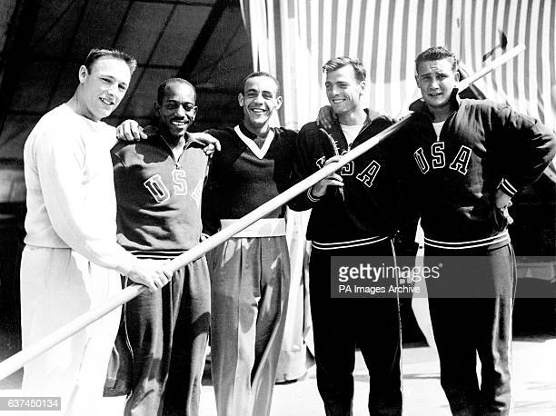 Members of the USA Olympic team take a break from training Fortune Gordien Harrison Dillard Malvin Whitfield Bob Mathias Parry O'Brien