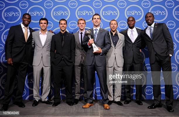 Members of the USA soccer team Edson Buddle Jonathan Bornstein Benny Feilhaber Stuart Holden Carlos Bocanera Steve Cherundulo Maurice Edu Jozy...