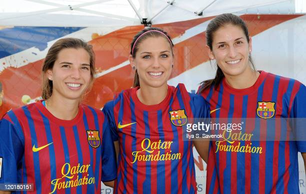 Members of the USA womens national soccer team Tobin Heath Alex Morgan and Yael Averbuch attend the 2011 Celebrity Soccer Challenge at Kastles...