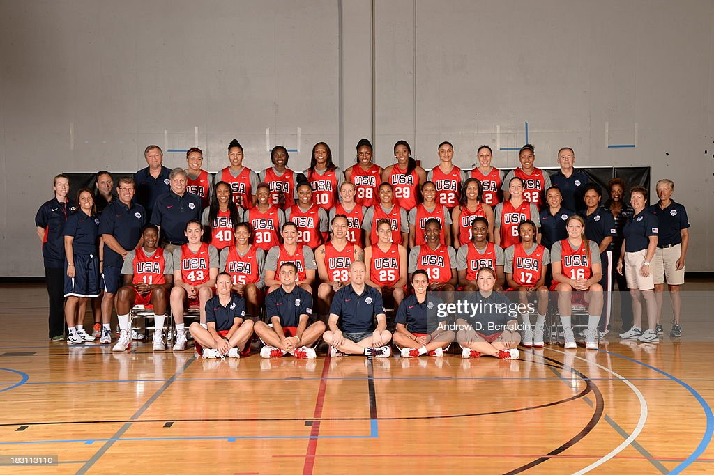 Members of the USA Women's National Team pose for a team photo during the USA Womens National Team Mini-Camp on October 4, 2013 at the Cox Pavilion in Las Vegas, Nevada.