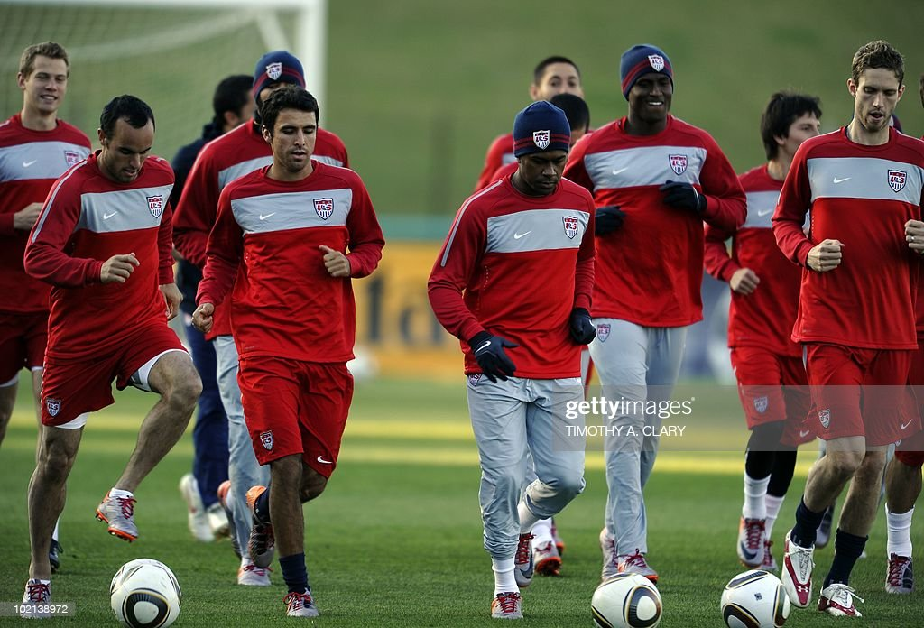 Members of the USA's football squad train at Pilditch Stadium June 16, 2010. The USA will play their 2nd 2010 World Cup match against Slovenia June 18.