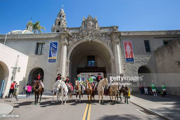 Members of the Valley Center Vaqueros pose for a photo in front of the historic California Tower and Museum of Man at Balboa Park on March 11 2017 in...