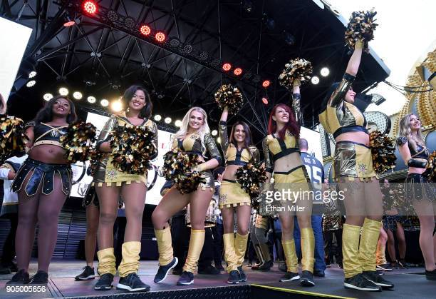 Members of the Vegas Golden Knights Golden Aces and the Knights Crew attend the Vegas Golden Knights Fan Fest at the Fremont Street Experience on...