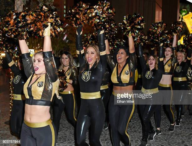 Members of the Vegas Golden Knights Golden Aces and the Knights Crew participate in The March to the Fortress outside the New YorkNew York Hotel...