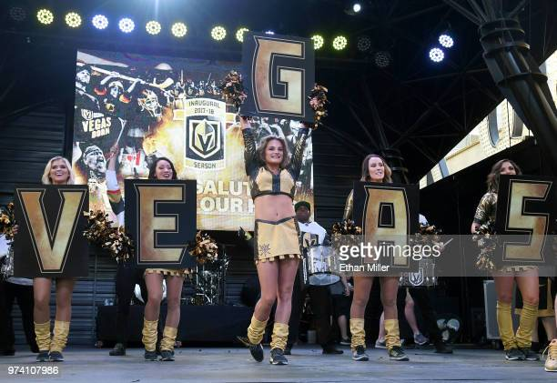 Members of the Vegas Golden Knights Golden Aces cheer during the team's 'Stick Salute to Vegas and Our Fans' event at the Fremont Street Experience...