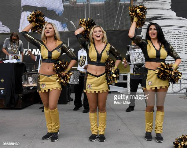 Members of the Vegas Golden Knights Golden Aces perform during a Golden Knights road game watch party for Game Three of the 2018 NHL Stanley Cup...