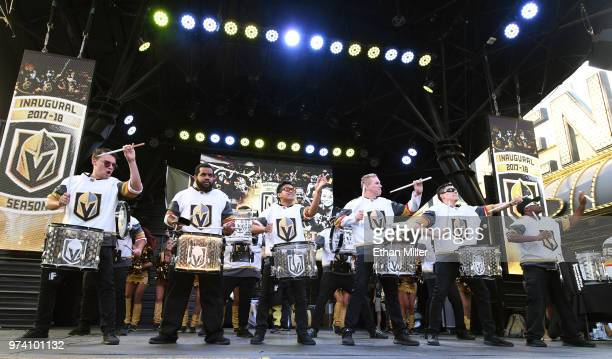 Members of the Vegas Golden Knights Knight Line Drumbots perform during the team's 'Stick Salute to Vegas and Our Fans' event at the Fremont Street...