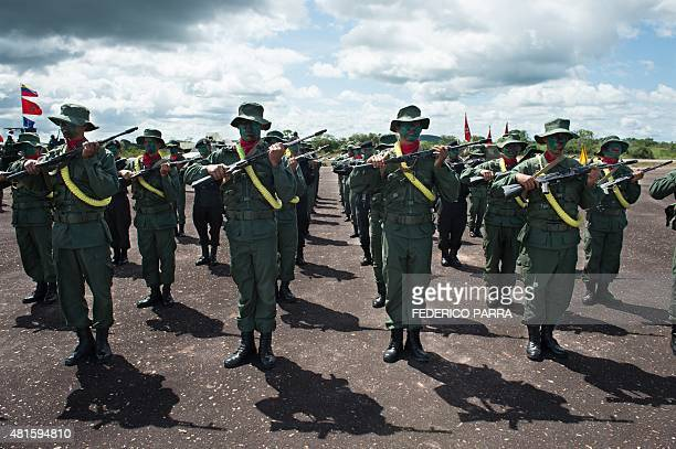 Members of the Venezuelan Army take part in a military parade in Tumeremo Bolivar State in Venezuela about 90 km from the border with Guyana July 21...