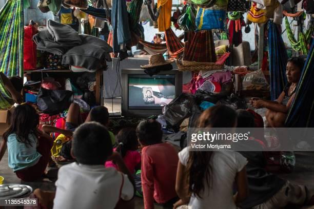 Members of the Venezuelan indigenous group Warao take refuge at the Janokoida UN shelter on April 6, 2019 in Pacaraima, Brazil. Venezuelan refugees...