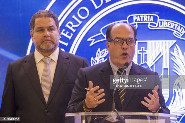 Members of the Venezuelan opposition Julio Borges and Luis Florido give a press conference after a meeting between Venezuelan government...