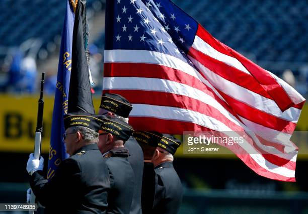 Members of the VFW Post 3118 Honor Guard from Pleasant Hill MO before the game between the Kansas City Royals and Chicago White Sox at Kauffman...