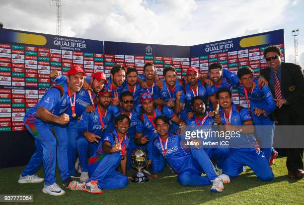 Members of the victorious Afghanistan team after wining The ICC Cricket World Cup Qualifier Final between The West Indies and Afghanistan at The...