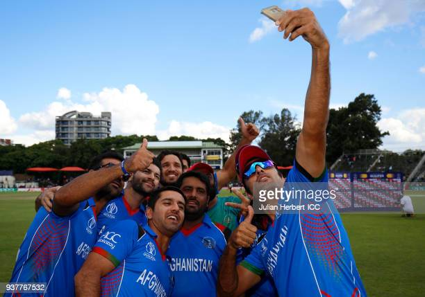 Members of the victorious Afghanistan team after winning The ICC Cricket World Cup Qualifier Final between The West Indies and Afghanistan at The...